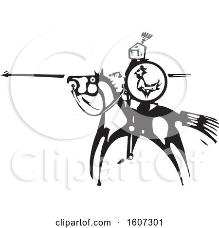 Clipart of a Horseback Knight Saint George with a Shield and Spear, Black and White Woodcut - Royalty Free Vector Illustration by xunantunich