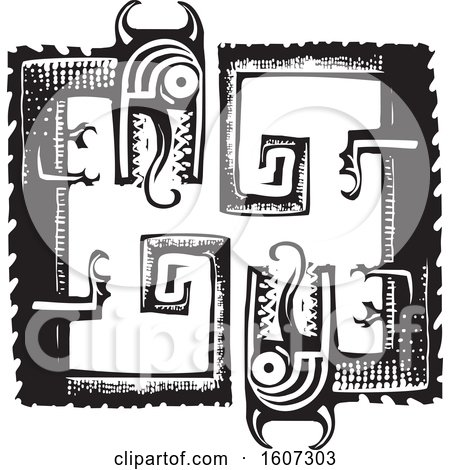 Clipart of Two Curled up Dragons, Black and White Woodcut Style - Royalty Free Vector Illustration by xunantunich