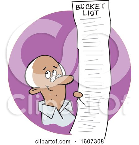 Clipart of a Cartoon Black Senior Man with a Long Bucket List, in a Purple Circle - Royalty Free Vector Illustration by Johnny Sajem