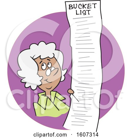 Clipart of a Cartoon Black Senior Lady with a Long Bucket List in a Purple Circle - Royalty Free Vector Illustration by Johnny Sajem