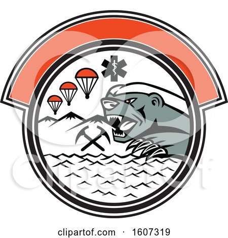 Clipart of a Honey Badger in a Circle with Parachutes and Paramedic Symbols - Royalty Free Vector Illustration by patrimonio