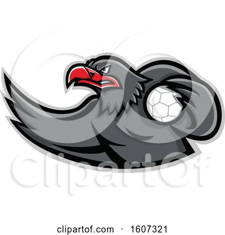 Clipart of a Red and Gray Eagle Mascot Handball Player - Royalty Free Vector Illustration by patrimonio