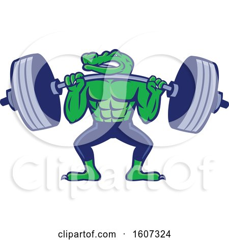 Clipart of a Muscular Alligator Man Mascot Lifting a Heavy Barbell - Royalty Free Vector Illustration by patrimonio