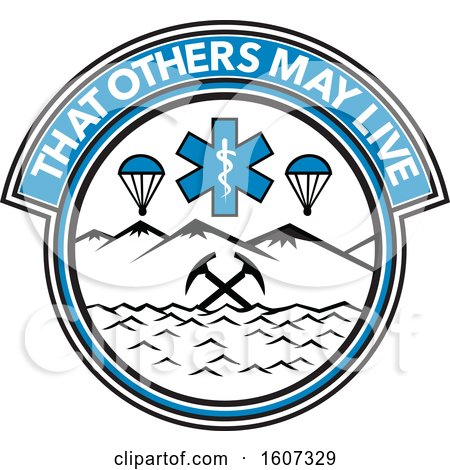 Clipart of a Medical Emergency Rescue Design with Parachutes, Paramedic Symbol, Crossed Mountain Ice Axes - Royalty Free Vector Illustration by patrimonio