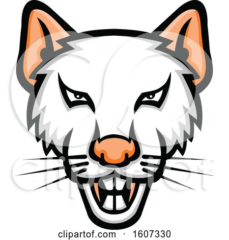 Clipart of a Vicious White Rat Mascot - Royalty Free Vector Illustration by patrimonio