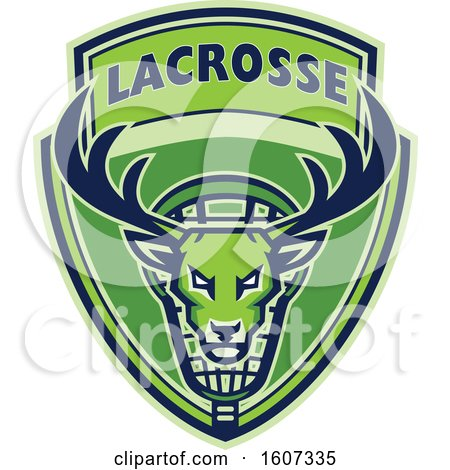 Clipart of a Green Buck Deer Mascot Head in a Lacrosse Shield - Royalty Free Vector Illustration by patrimonio
