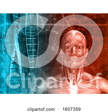 Clipart of a 3D Medical Background with Male Figure, DNA Strands and Code - Royalty Free Illustration by KJ Pargeter