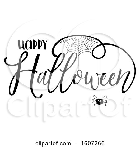 Clipart of a Happy Halloween Greeting with a Spider and Web - Royalty Free Vector Illustration by KJ Pargeter