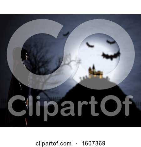 Clipart of a 3D Female in Cloak Against a Defocussed Halloween Background - Royalty Free Illustration by KJ Pargeter