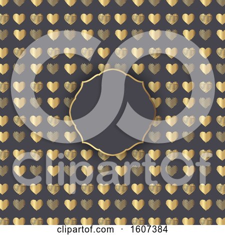 Clipart of a Blank Frame on a Gold Heart Pattern on Gray - Royalty Free Vector Illustration by KJ Pargeter