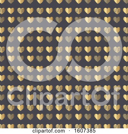 Clipart of a Gold Heart Pattern on Gray - Royalty Free Vector Illustration by KJ Pargeter