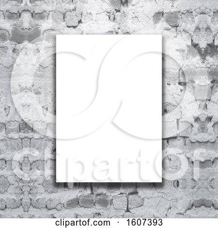 Clipart of a 3D Render of a Blank Canvas on a Grunge Brick Wall - Royalty Free Illustration by KJ Pargeter