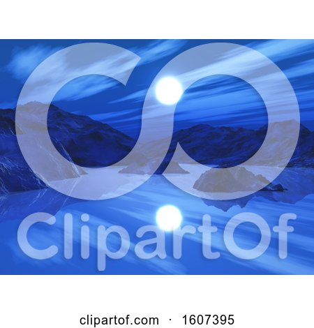 Clipart of a 3D Landscape with Mountains and Lake with a Sun or Moon - Royalty Free Illustration by KJ Pargeter