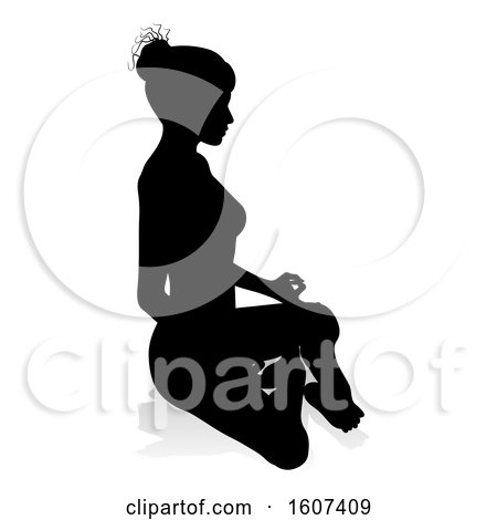 Clipart of a Silhouetted Woman Sitting in a Lotus Position, with a Shadow or Reflection, on a White Background - Royalty Free Vector Illustration by AtStockIllustration