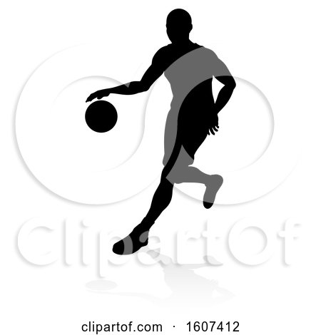 Clipart of a Silhouetted Basketball Player Dribbling, with a Reflection or Shadow, on a White Background - Royalty Free Vector Illustration by AtStockIllustration