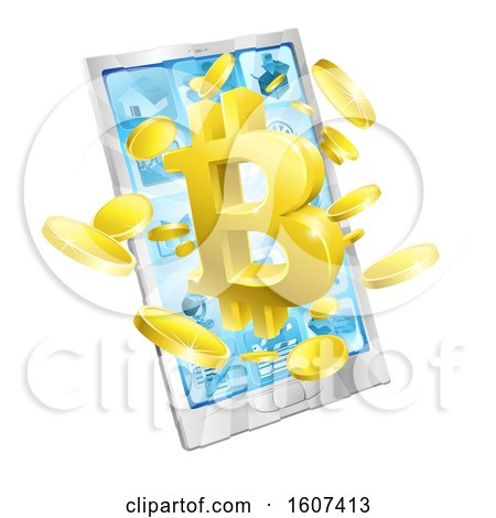 Clipart of a 3d Gold Bitcoin Currency Symbol Bursting from a Smart Phone Screen - Royalty Free Vector Illustration by AtStockIllustration