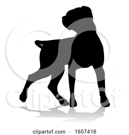 Clipart of a Silhouetted Labrador Dog, with a Reflection or Shadow, on a White Background - Royalty Free Vector Illustration by AtStockIllustration