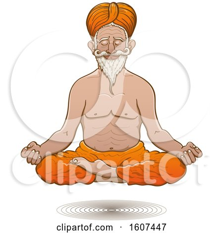 Clipart of a Floating Truly Hyperconnected Indian Guru Man Meditating - Royalty Free Vector Illustration by Zooco