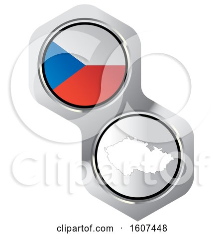 Clipart of a Czech Republic Flag Button and Map - Royalty Free Vector Illustration by Lal Perera