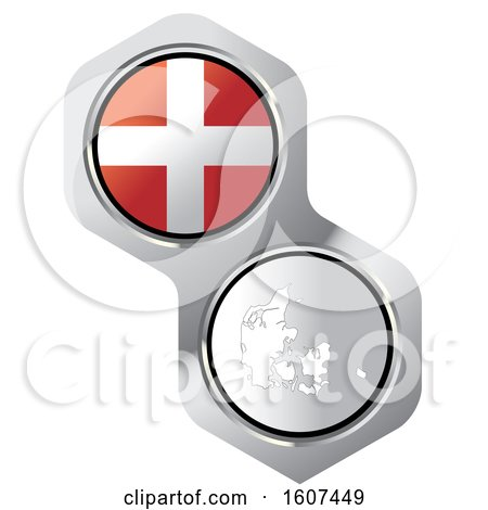 Clipart of a Danish Flag Button and Map - Royalty Free Vector Illustration by Lal Perera