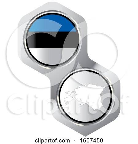 Estonia Flag Button and Map Posters, Art Prints