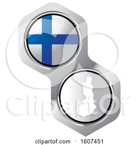 Finnish Flag Button and Map Posters, Art Prints