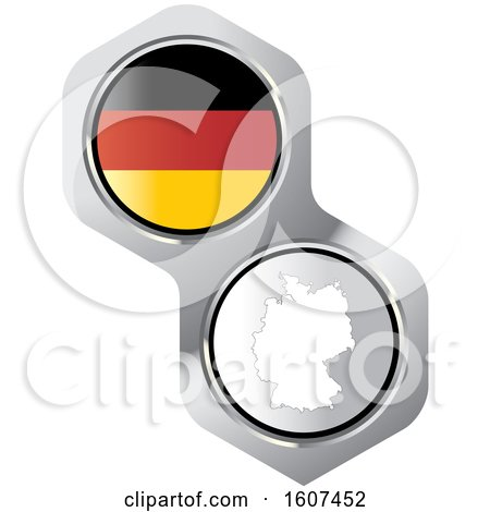 Clipart of a German Flag Button and Map - Royalty Free Vector Illustration by Lal Perera