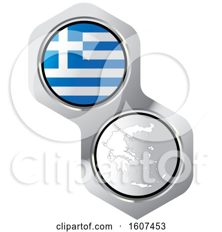 Clipart of a Greek Flag Button and Map - Royalty Free Vector Illustration by Lal Perera