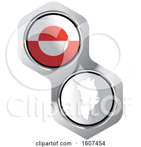 Clipart of a Greenlander Flag Button and Map - Royalty Free Vector Illustration by Lal Perera