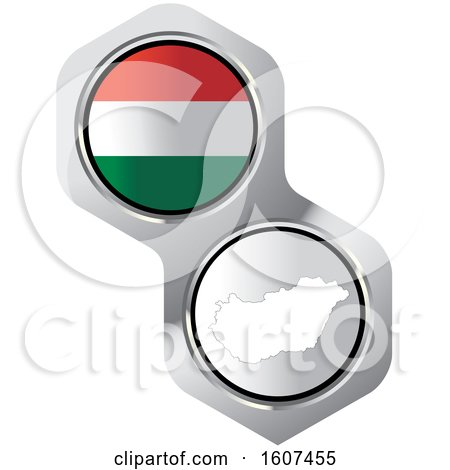 Clipart of a Hungary Flag Button and Map - Royalty Free Vector Illustration by Lal Perera