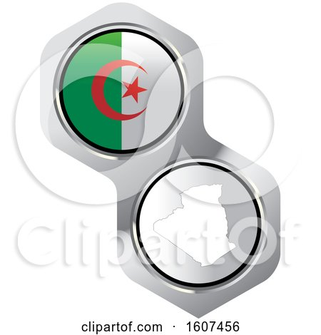 Clipart of an Algerian Flag Button and Map - Royalty Free Vector Illustration by Lal Perera