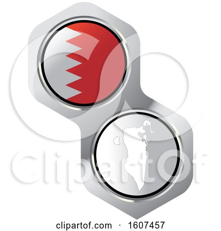Clipart of a Bahrain Flag Button and Map - Royalty Free Vector Illustration by Lal Perera