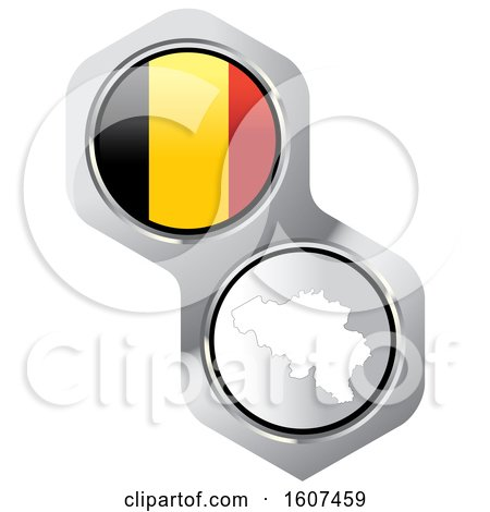 Belgian Flag Button and Map Posters, Art Prints