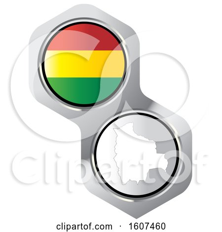 Clipart of a Bolivian Flag Button and Map - Royalty Free Vector Illustration by Lal Perera