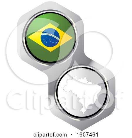 Clipart of a Brazilian Flag Button and Map - Royalty Free Vector Illustration by Lal Perera