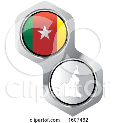 Cameroonian Flag Button and Map Posters, Art Prints