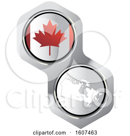 Clipart of a Canadian Flag Button and Map - Royalty Free Vector Illustration by Lal Perera