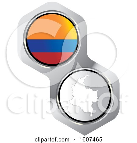 Clipart of a Colombian Flag Button and Map - Royalty Free Vector Illustration by Lal Perera