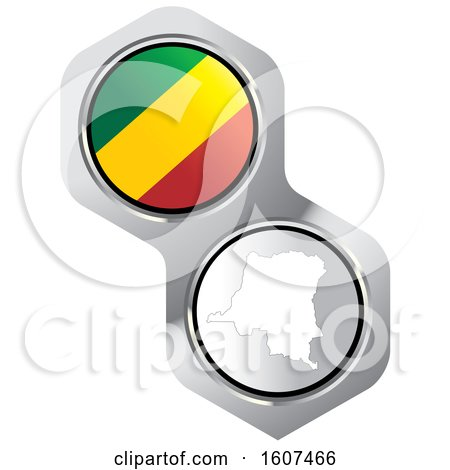 Clipart of a Congolese Flag Button and Map - Royalty Free Vector Illustration by Lal Perera