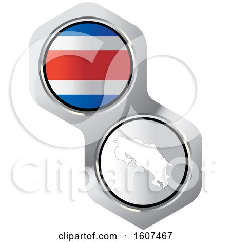 Costa Rican Flag Button and Map Posters, Art Prints