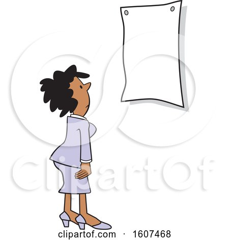 Clipart of a Cartoon Black Woman Looking at a Sign - Royalty Free Vector Illustration by Johnny Sajem
