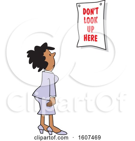 Clipart of a Cartoon Black Woman Looking at a Dont Look up Here Sign - Royalty Free Vector Illustration by Johnny Sajem