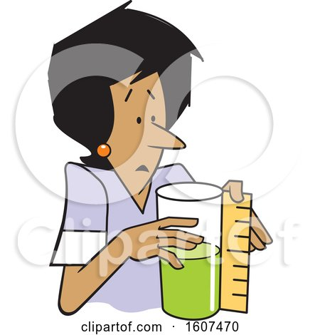 Clipart of a Cartoon Black Woman Measuring a Container That Is Half Full or Half Empty - Royalty Free Vector Illustration by Johnny Sajem
