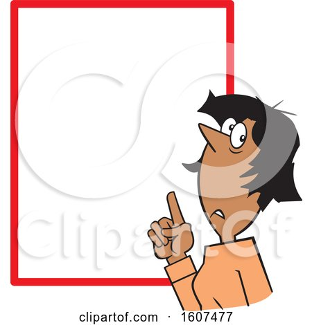 Clipart of a Cartoon Black Woman Pointing at a Blank Sign - Royalty Free Vector Illustration by Johnny Sajem