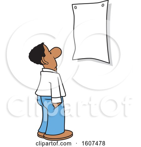 Clipart of a Cartoon Black Business Man Looking at a Blank Sign - Royalty Free Vector Illustration by Johnny Sajem