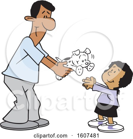 Clipart of a Cartoon Happy Black Father Giving His Daughter a Puppy Dog - Royalty Free Vector Illustration by Johnny Sajem