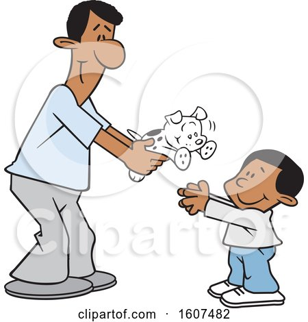 Clipart of a Cartoon Happy Black Father Giving His Son a Puppy Dog - Royalty Free Vector Illustration by Johnny Sajem