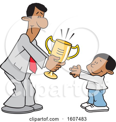Clipart of a Cartoon Black Business Man Giving a Boy a Trophy - Royalty Free Vector Illustration by Johnny Sajem