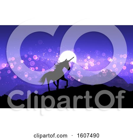 Clipart of a 3D Render of a Fantasy Unicorn on a Mountain Landscape with Purple Sunset Sky - Royalty Free Illustration by KJ Pargeter