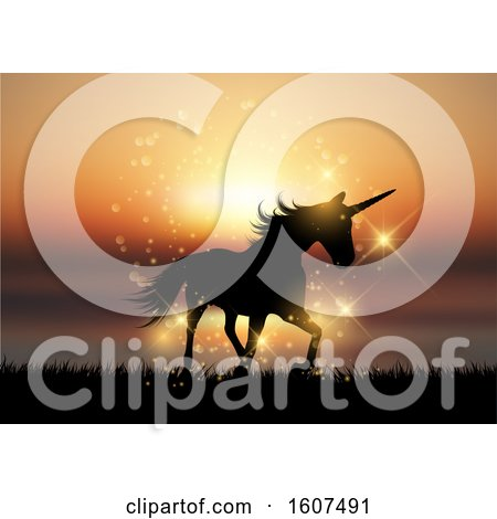Clipart of a Silhouette of a Unicorn in a Sunset Landscape - Royalty Free Vector Illustration by KJ Pargeter